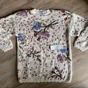 Vintage 80s 90s Tunic Sweater Floral Deadstock S/M